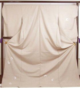 洗える着物 付下げ 刺繍 白茶色地に花丸 光触媒消臭