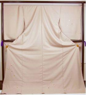 洗える着物 付下げ 刺繍 白茶色地に色紙 光触媒消臭