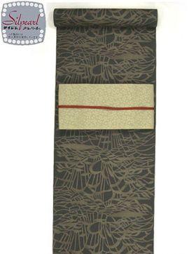 洗える紬着物 大島紬調 風景柄 茶色/テイジンシルパール