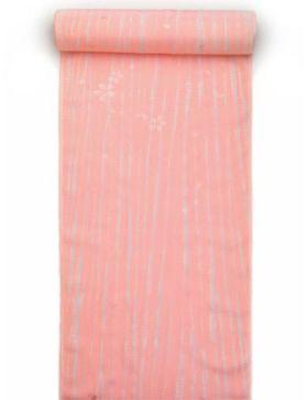 正絹長襦袢 柳絞り 桜吹雪柄 ピンク/グレー