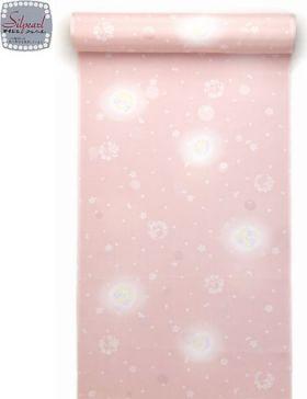 洗える長襦袢 反物 花丸 サーモンピンク 水玉紋意匠