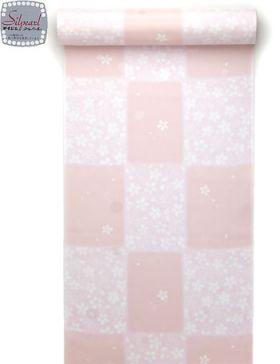 洗える長襦袢 反物 市松花吹雪 ピンク 水玉紋意匠