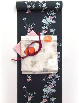 洗えるきもの Dreamsilhouette 桜 黒