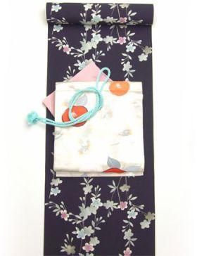 洗える着物  Dreamsilhouette 桜 紫