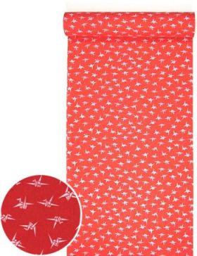 洗える紅(赤)襦袢 折り鶴紋