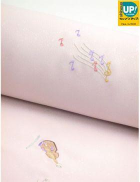 洗える着物 刺繍小紋 桜色地に楽器と演奏会