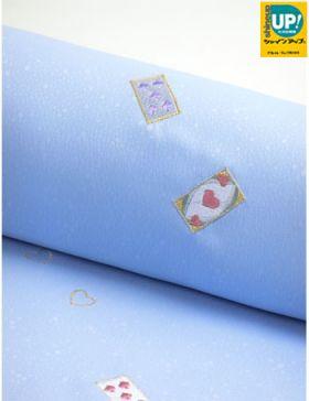 洗える着物 刺繍小紋 トランプゲーム 空色