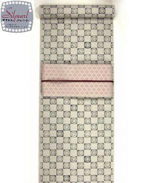 洗える紬着物 大島紬調 菊市松 赤みグレー/テイジンシルパール