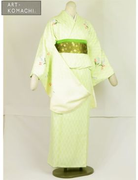 袴用着物アート小町二尺袖きものK502/グリーン系