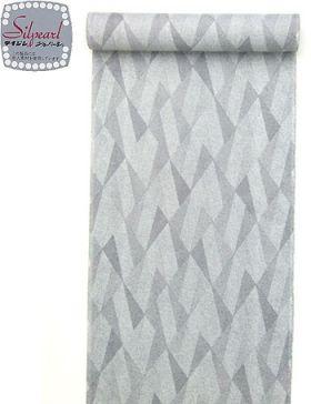 洗える着物 小紋 夏物駒絽 グレー色地きれどり