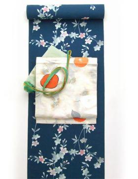 洗える着物 小紋 Dreamsilhouette 桜 緑