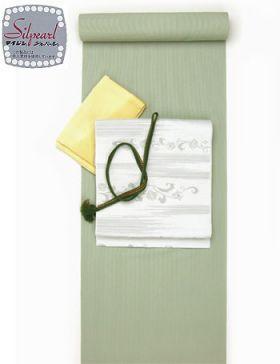 洗える着物 万筋(極細縞)/TL寸可能40cm巾 幅広  緑色No.6