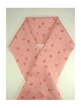 柔らかい洗える友禅半衿 桜吹雪 濃ピンク E-1