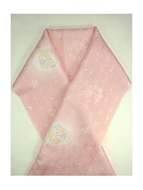 柔らかい洗える友禅半衿 花丸 ピンク E-9