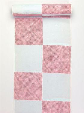 正絹振袖用襦袢 糊友禅 鹿の子市松 水色 クイーンサイズ
