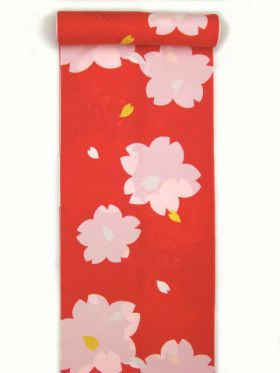 正絹振袖用襦袢 糊友禅 桜柄 赤 クイーンサイズ