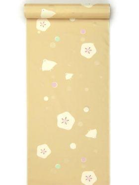 洗える振袖用長襦袢(長尺) 水玉ちどりゴールドベージュ