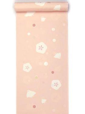 洗える長襦袢 水玉地紋梅・ちどり柄友禅襦袢 珊瑚ピンク