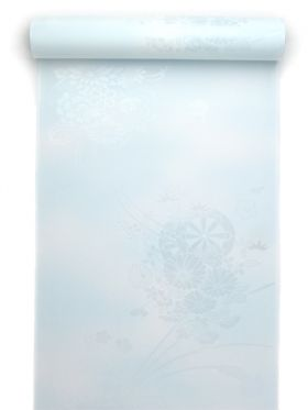 洗える長襦袢 紋綸子 クイーンサイズ 水色ぼかし