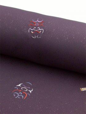洗える着物 刺繍小紋 かぶき柄 ぶどう色 光触媒消臭