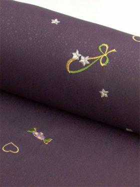 洗える着物 刺繍小紋 スイーツ柄 葡萄紫色 光触媒消臭