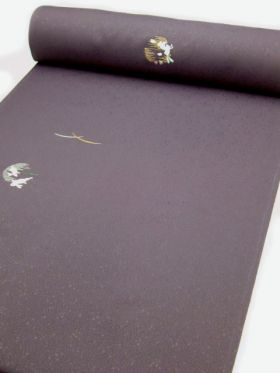洗える着物 刺繍小紋  葡萄色 光触媒消臭 うさぎと月