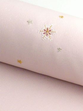 洗える着物 刺繍小紋  桜ピンク色 光触媒消臭 雪