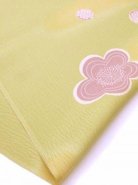 正絹 帯揚げ 花かすみ 緑オレンジ