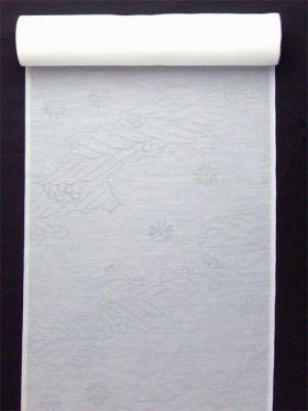 洗える長襦袢 夏物 麻混紋紗 雲と波と菊柄