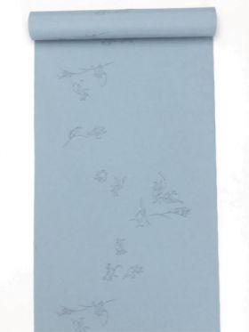 洗える男襦袢 小紋柄 鳥獣戯画柄 青