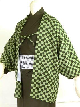 洗える市松 羽織 袷 オーダー仕立 緑系 斜めより