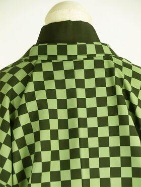 洗える市松 羽織 袷 オーダー仕立 緑系 後ろより