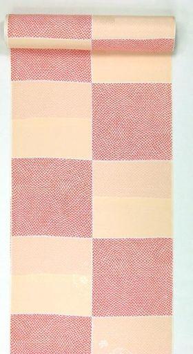 正絹振袖用襦袢 糊友禅 鹿の子市松 肌色 クイーンサイズ