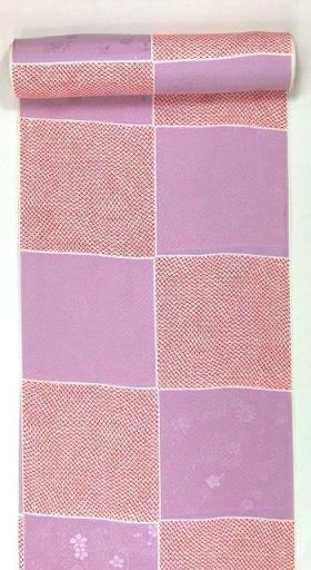 正絹振袖用襦袢 糊友禅 鹿の子市松 紫 クイーンサイズ