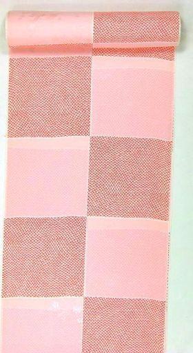 正絹振袖用襦袢 糊友禅 鹿の子市松 ピンクに赤鹿の子 クイーンサイ