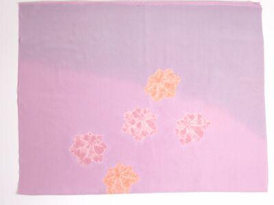 正絹 女物額裏 紫と赤藤色ぼかしに絞り楓