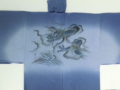 "Silk underwear of Men's kimono ""Tenryu""bland Gods of thunder and wind ⑩ blue"