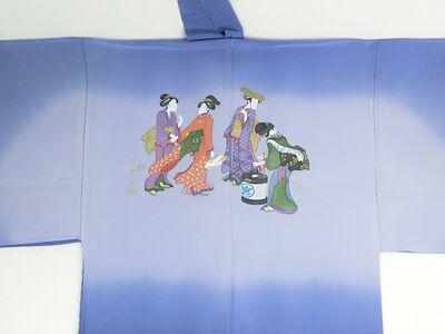 摺り友禅男襦袢 浮世絵 No.3 青