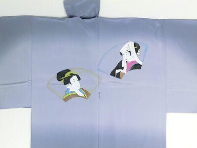 摺り友禅男襦袢 浮世絵 No.2 グレー
