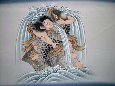 手描額裏(広幅の羽裏) 金太郎