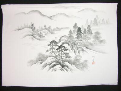 男女両用正絹額裏 白地に墨絵 手描き 山水 松と家2