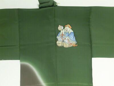 手描き 男襦袢 双福の神様 引き染 緑(背中) / 茶色(裾)