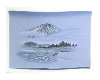 男物 額裏 青グレー 山水 富士山と船 「白山」ブランド