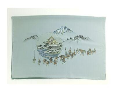 男物 額裏 緑 山水 富士に大名行列 「白山」ブランド