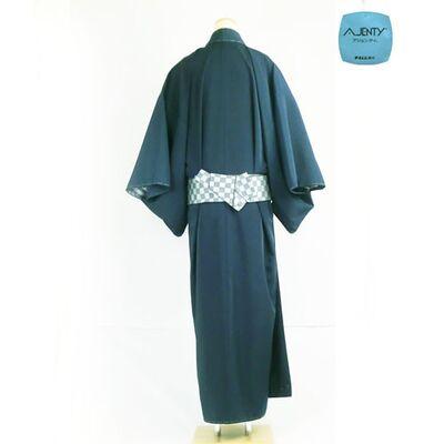 洗える着物/羽織 男物 女物 高級羽二重(テイジンアジェンティnkf) 濃紺 42cm巾 後ろ側