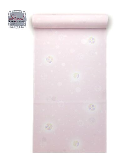 洗える長襦袢 反物 花丸 ピンク 水玉紋意匠