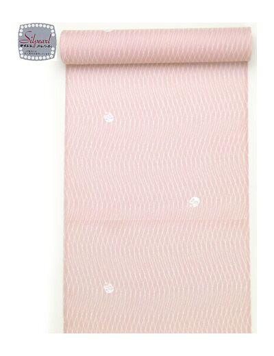 洗える着物 小紋 夏物駒絽 ピンク地 よろけ