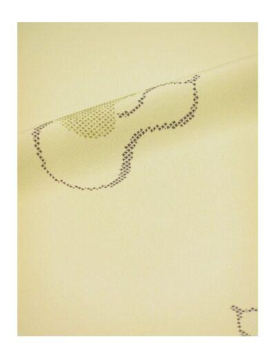 洗える着物 縮緬小紋 幅広 薄クリーム色に瓢箪 「テイジンシルパール」
