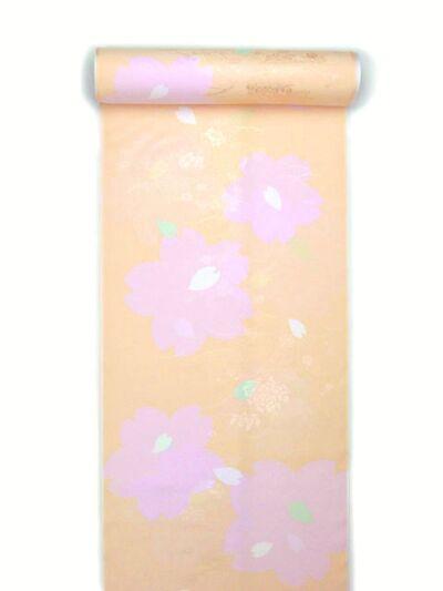 正絹振袖用襦袢 糊友禅 桜柄 オレンジピンク クイーンサイズ