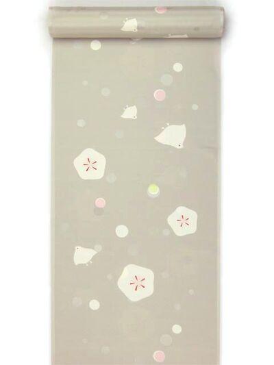 洗える長襦袢 水玉地紋梅 ちどり柄友禅襦袢 ココアグレー